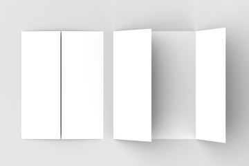 Double gate fold vertical brochure mock up isolated on soft gray background. 3D illustrating.