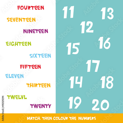Match then colour the numbers 11 to 20. Kids words learning game ...