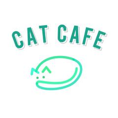 Sleeping cat cafe logo template. Isolated line art style illustration on white background.