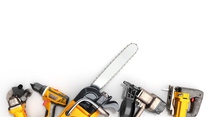 construction background with tools 3d render on white