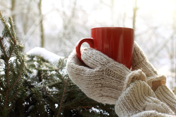 warming atmosphere of a winter morning/ Hands in mittens are holding red mug against the background of snow-covered green tree
