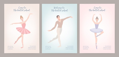 Collection of flyer templates with elegantly dressed male and female ballet dancers in various poses. Flat cartoon vector illustration for classic dance or choreography school promotion, advertising