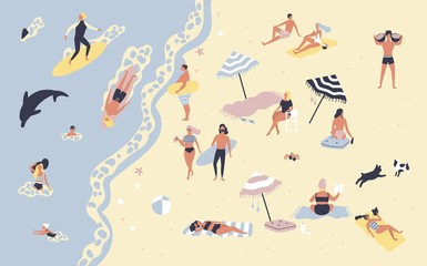 People at beach or seashore relaxing and performing leisure outdoor activities - sunbathing, reading books, talking, walking, surfing, swimming in sea or ocean. Flat cartoon vector illustration.