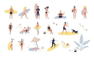 Collection of people performing summer outdoor activities at beach - sunbathing, walking, carrying surfboard, swimming in sea. Cartoon characters isolated on white background. Vector illustration.
