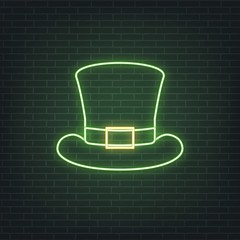 Saint Patrick's Day. Neon glowing sign of leprechaun hat. Saint Patrick neon set