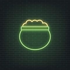 Saint Patrick's Day. Neon glowing sign of lerpechaun pot of golden coins. Saint Patrick neon set