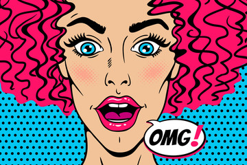 Wow female face. Sexy surprised young woman head with wide open mouth, eyes and pink curly hair and OMG speech bubble. Vector colorful background in pop art retro comic style. Party invitation poster.