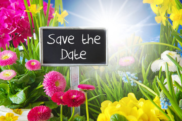 Sunny Spring Flower Meadow, Save The Date