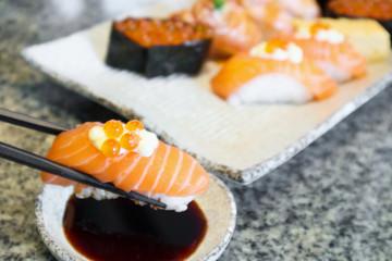 sashimi sushi set on plate Japanese food