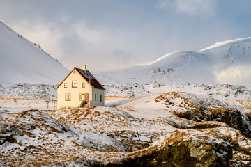 beautiful cottage at icelandic country