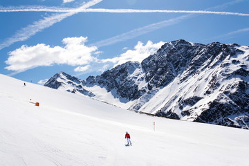 People on ski, snowy mountains, St. Jakob, Defereggen Valley, Austria