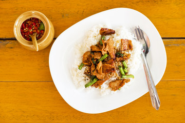 Popular Rice Topped with Stir-Fried Pork and Basil.