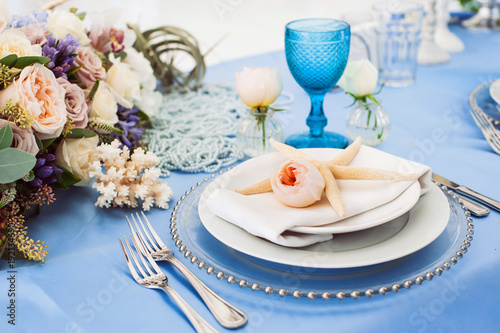 Beautiful Decorated Table Set For Wedding Party Old Fashioned