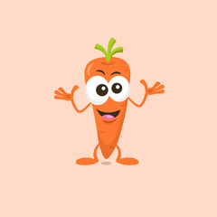 Illustration of cute decisive carrot mascot isolated on light background.