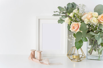 Framr mockup with blush wedding bouquet with roses