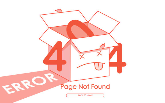 404 error red box line vector background