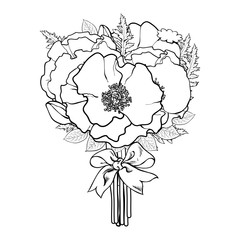 Big bunch, bouquet of poppy flowers tied with ribbon, black and white sketch, hand drawn vector illustration isolated on white background. Hand-drawn bunch of poppy flowers tied up with ribbon