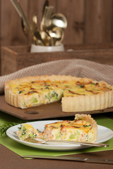 Home Baked Salmon Quiche With Broccoli. Traditional British Food.