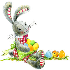 cute Easter bunny  watercolor illustration