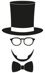 Art poster man father dad day avatar element set tall hat glasses beard, beaver, bow tie silhouette.