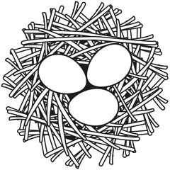 Line art black and white egg nest icon poster.