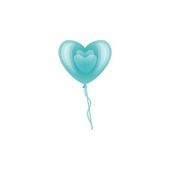 Vector stylized blue air balloon in heart shape icon. Happy valentines day romantic invitation card template with love symbol. Isolated holiday illustration on white background.