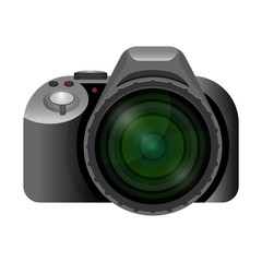 Professional modern digital camera with wide short lens