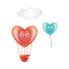 Vector happy valentines day heart symbols icon set. Red, blue hot air balloon heart shape, cloud. Romantic invitation card template love symbol. Isolated holiday illustration white background