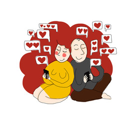 love sms - illustration, two people sending their hearts
