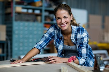 Female carpenter rubbing wooden plank with sanding block