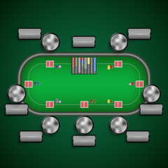 Poker table with chairs and cards chips player labels template