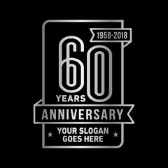 60th anniversary logo. Vector and illustration.