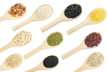 Collection set of beans and sesame on wooden spoons isolated on white background,top view