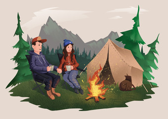 Young couple, man and woman sitting around the campfire in the forest. Mountain alpine landscape. Hiking, active outdoor recreation. Isolated illustration on light background.