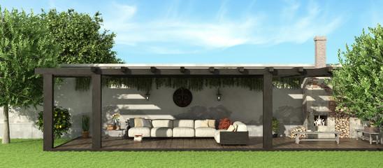 Garden with wooden pergola
