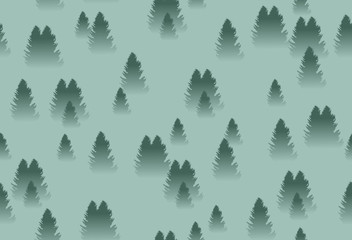 spruce forest with fog seamless pattern