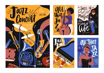 Collection of poster, placard and flyer templates for jazz music festival, concert, event with musical instruments, musicians and singers. Vector illustration in contemporary hand drawn cartoon style. Wall mural