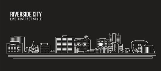 Cityscape Building Line art Vector Illustration design -riverside city california