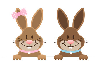 2 Easter Bunnies Boy & Girl Holding Banner