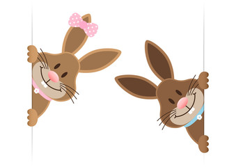 2 Easter Bunnies Boy & Girl Banner Inside