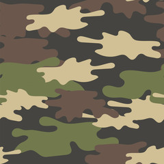Camouflage Seamless Pattern. Military Repeat Army Texture . Green Brown Olive Colors Forest Background.