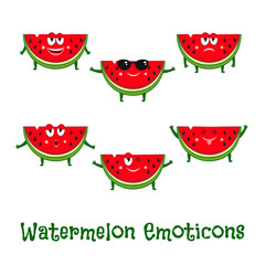 Watermelon smiles. Cute cartoon emoticons. Emoji icons