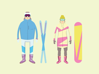 Extreme winter sports and adventure in mountains. Men and women with a snowboard and skis.