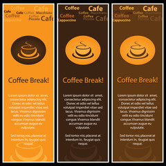 Three Colorful Abstract Coffee Banners - Vector Illustration