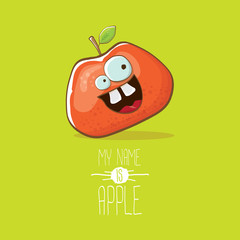 vector funny cartoon cute red apple character isolated on green background. My name is apple vector concept. super funky fruit food character