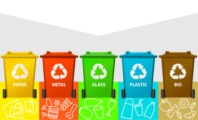 Waste segregation background with recycle bins