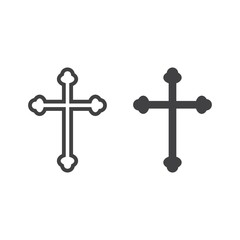 Religion cross line and glyph icon, easter and holiday, christian sign vector graphics, a linear pattern on a white background, eps 10.