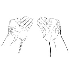 Sketchy Gesture Hand, Ready to Receive or Give Something