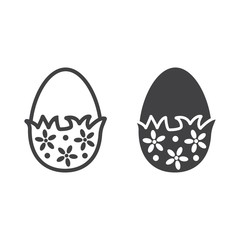 Chocolate egg with wrapper line and glyph icon, easter and holiday, sweet sign vector graphics, a linear pattern on a white background, eps 10.