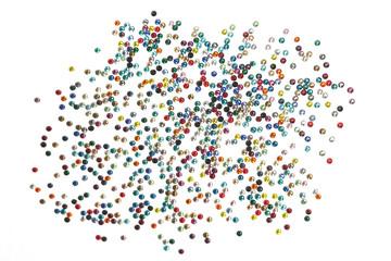 Many strewn with multi-colored rhinestones.